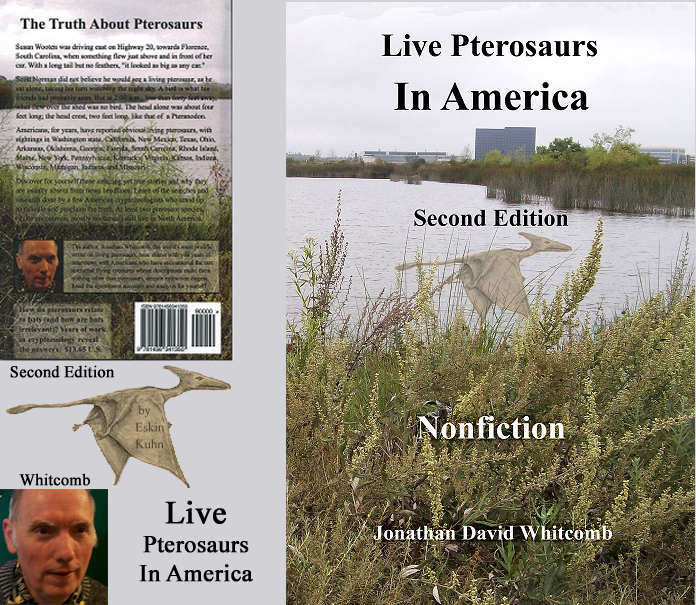 "front and back covers for the second edition of the nonfiction book ""Live Pterosaurs in America"""