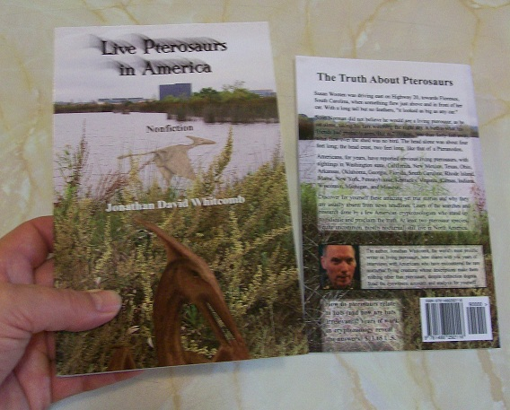 "Nonfiction book ""Live Pterosaurs in America"" - back and front covers"