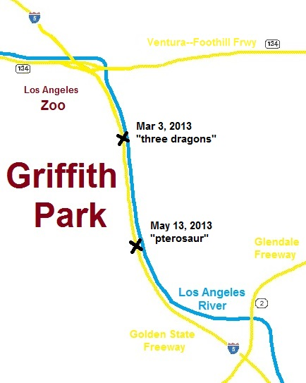 map of freeways near the east side of Griffith Park - also the Los Angeles River
